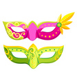 Party masks in pink and green colors vector image vector image