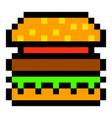 pixel burger hamburger art cartoon retro game vector image