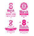 posters set women day march 8 greeting card vector image