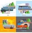 Rail Transport 2x2 Design Concept vector image vector image