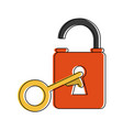 safety lock open with key icon image vector image vector image