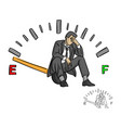 serious businessman sitting on fuel gauge sign vector image