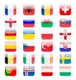 set 24 soccer balls icons flags the vector image