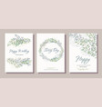 set card with beautiful twigs with leaves vector image vector image