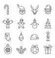 set christmas elements outline icon collection vector image