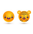 set icons of emoji in kawaii style funny vector image