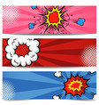 set pop art style banners comic style flyers vector image