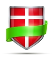 Shield with flag Denmark and ribbon vector image