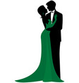 silhouette in love couple in embrace vector image vector image
