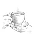 Sketch of arm with cup vector image vector image
