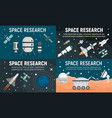 space research technology banner set flat style vector image