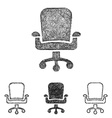 Swivel chair icon set - sketch line art vector image vector image