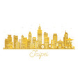 taipei city skyline golden silhouette vector image