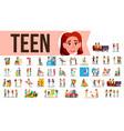 teen set teenager spending time together vector image