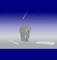 the polar bear is walking along the north pole vector image vector image