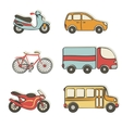 transportation hand drawing icons vector image vector image