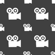 video camera icon sign Seamless pattern on a gray vector image vector image