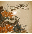 Vintage floral background with birds vector image
