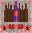 Wine tasting card bottles and a red glass vector image vector image