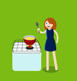 woman in kitchen cook vector image
