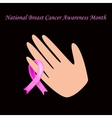 Breast cancer ribbon tied on her arm vector image
