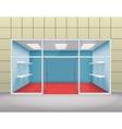 Empty shop front boutique window and open door 3d vector image