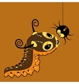 Monster-caterpillar with spider vector image