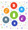 7 canister icons vector image vector image