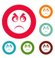 angry smile icons circle set vector image
