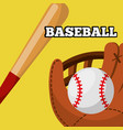 baseball leather glove ball and bat equipment vector image