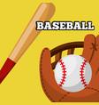 baseball leather glove ball and bat equipment vector image vector image