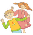 boy and girl greet waving hand vector image vector image