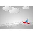 Bright sailboat on grey seascape Tech schematic vector image vector image