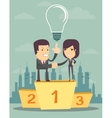 business people on a pedestal vector image vector image