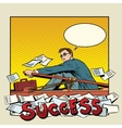 businessman rowing boat to success vector image
