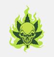 cannabis leaf marijuana fire green skull logo vector image vector image