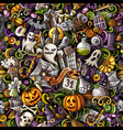 cartoon cute doodles hand drawn halloween seamless vector image