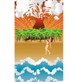 Cartoon volcano island and girl vector image vector image