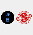 cell phone icon and distress internet of vector image vector image