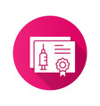 certificate vaccination icon with long shadow for vector image vector image