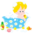 child bathing with toys vector image