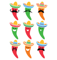 Chili pepper in Mexican Sombrero hat with mustache vector image vector image