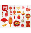 chinese new year transparent set vector image