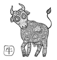 chinese zodiac animal astrological sign cow vector image vector image