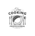 cooking label isolated on white background vector image