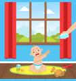 cute little bain diaper sitting on floor vector image vector image