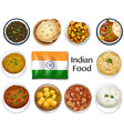 Different dish of Indian food vector image