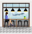 girl behind the bar counter at the airport vector image vector image