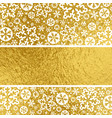 golden christmas background with white snowflakes vector image