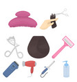 hairdresser set icons in cartoon style big vector image vector image